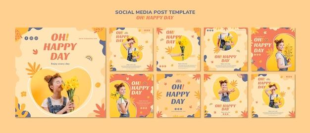 幸せな日のソーシャルメディアの投稿 無料 Psd