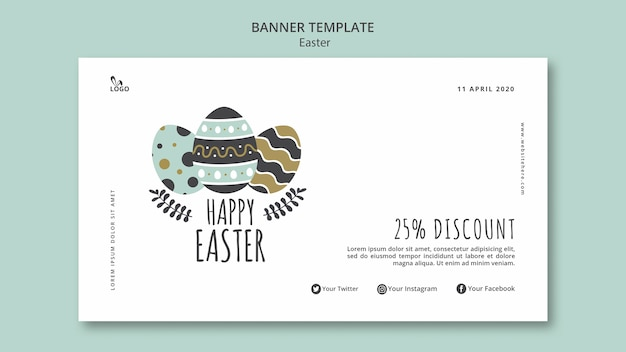 Happy easter banner template Free Psd