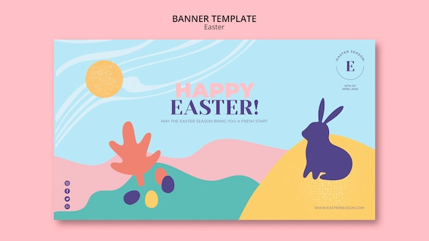 Happy easter day banner template with illustrated bunny Free Psd