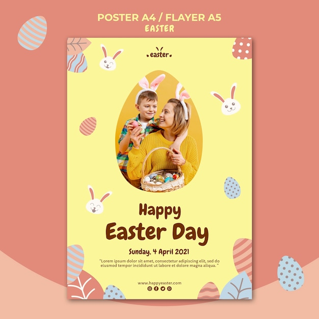 Happy easter day flyer template with photo Free Psd