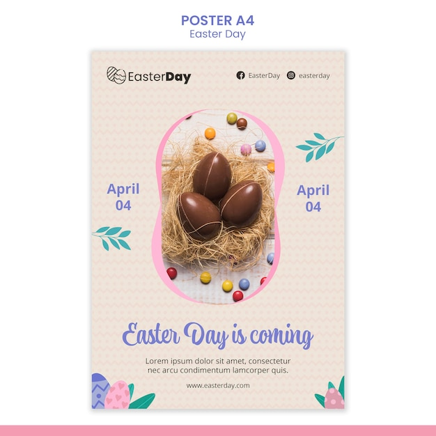 Happy easter day flyer template Free Psd