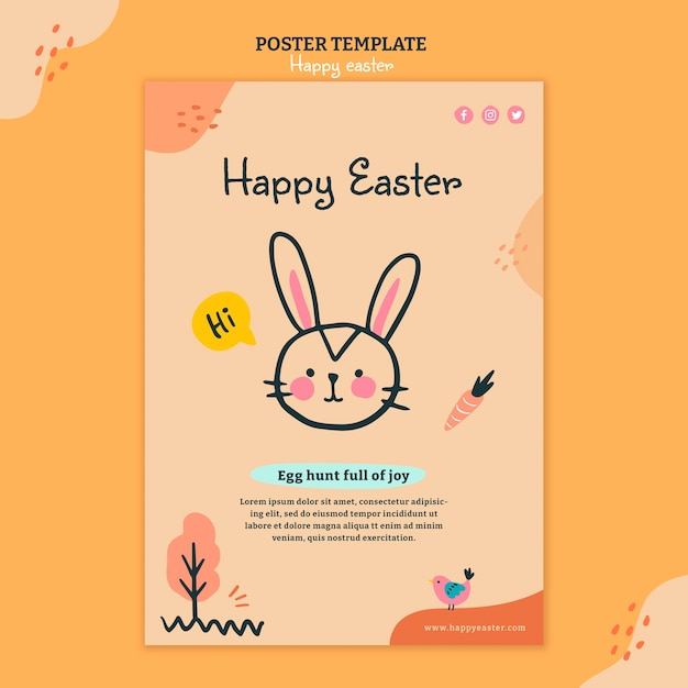 Happy easter day illustrated flyer template Free Psd