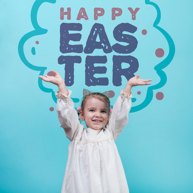 Happy easter day mockup with girl Free Psd