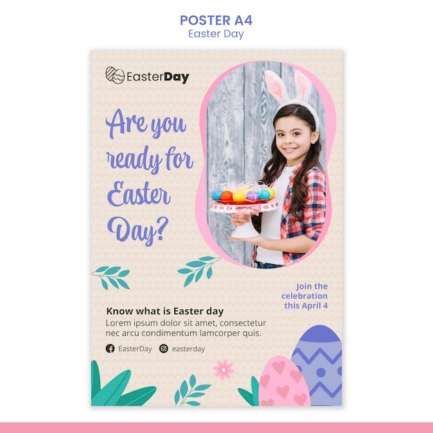 Happy easter day poster template Free Psd