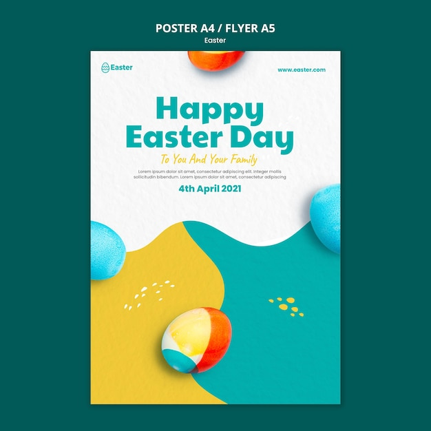 Happy easter day realistic flyer template Free Psd