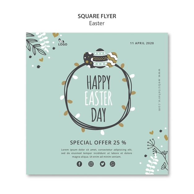 Happy easter day square flyer template Free Psd