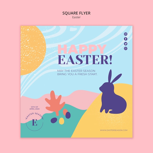 Aletta di filatoio felice del quadrato di giorno di pasqua con il coniglietto illustrato Psd Gratuite