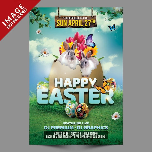 Happy easter flyer template Premium Psd