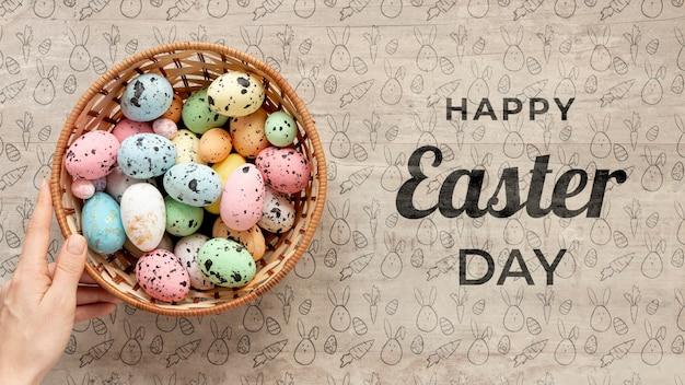 Buona pasqua mock-up con uova colorate Psd Gratuite