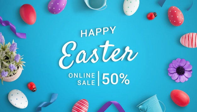 Happy easter online sale scene creator with 3d text and easter decorations. top view, flat lay composition Premium Psd