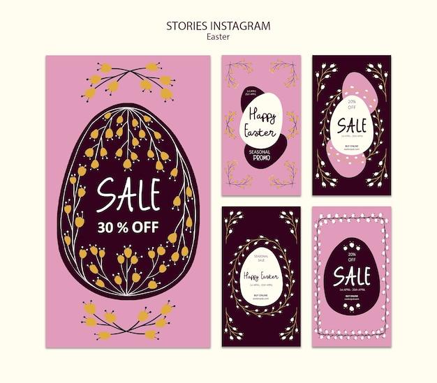 Storie felici di instagram di vendite di pasqua Psd Gratuite