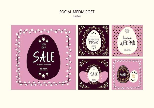 Happy easter sales social media post Free Psd