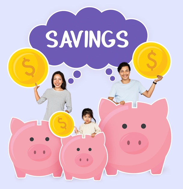 Happy family with savings for their future Premium Psd