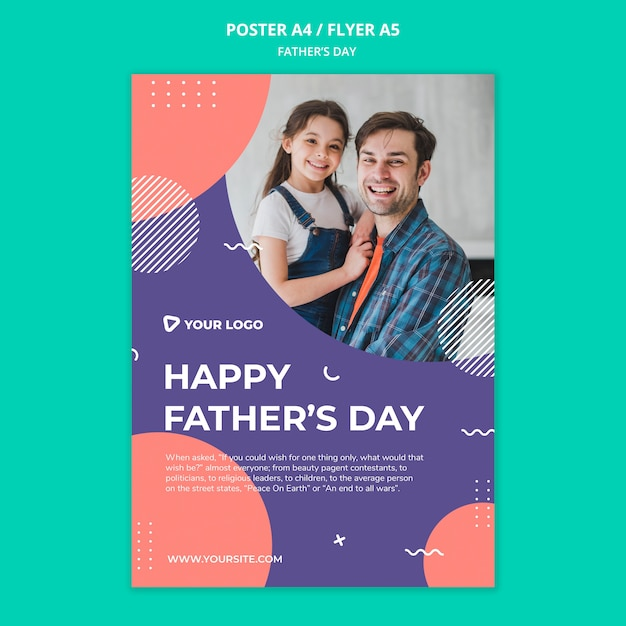 해피 아버지의 날 컨셉 포스터 모형 무료 PSD 파일