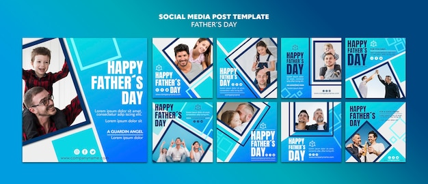 Happy father's day social media post template Free Psd