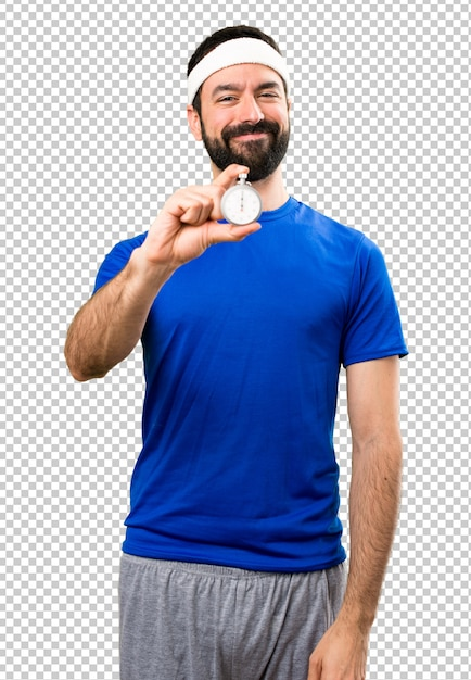 Happy funny sportsman holding vintage chronometer Premium Psd