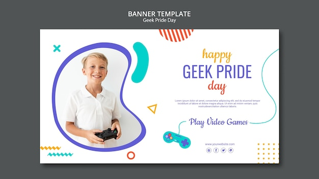 Happy geek pride day banner template Free Psd