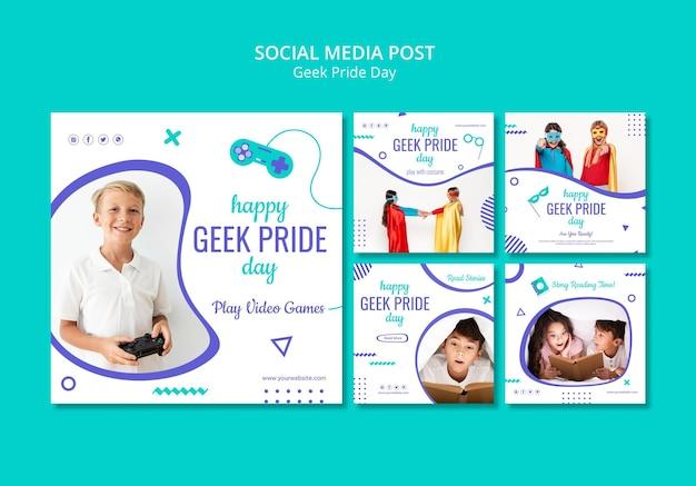 Happy geek pride day social media post template Free Psd