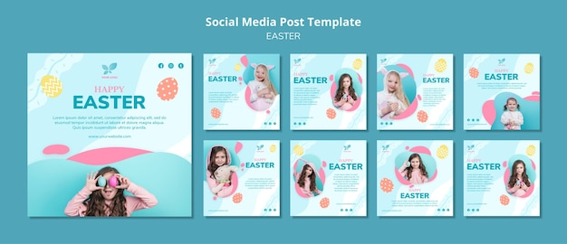 Happy girl child social media post template Free Psd