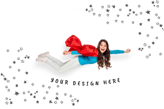 Happy girl flying concept Free Psd