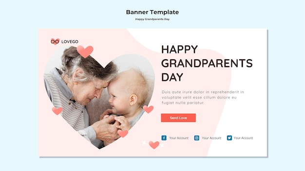 Happy grandparents day banner style Free Psd