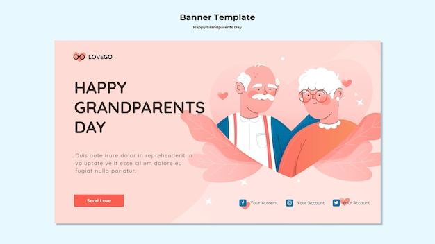 Happy grandparents day banner Free Psd
