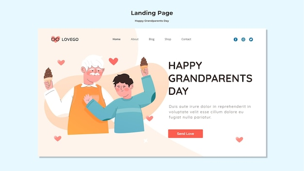 Happy grandparents day landing page design Free Psd