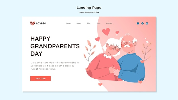 Happy grandparents day landing page theme Free Psd