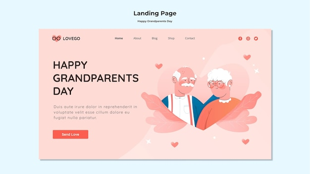 Happy grandparents day landing page Free Psd