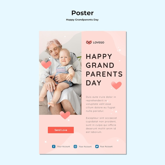 Happy grandparents day poster design Free Psd