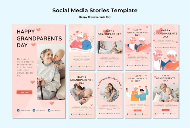 Happy grandparents day social media stories Free Psd