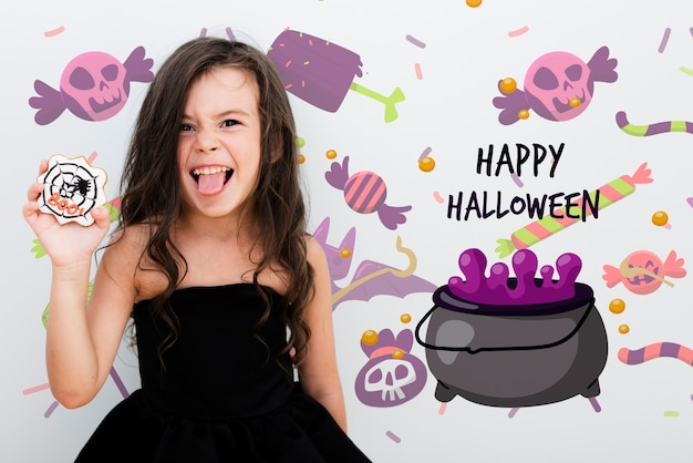 Happy halloween cute girl and animated melting pot Free Psd
