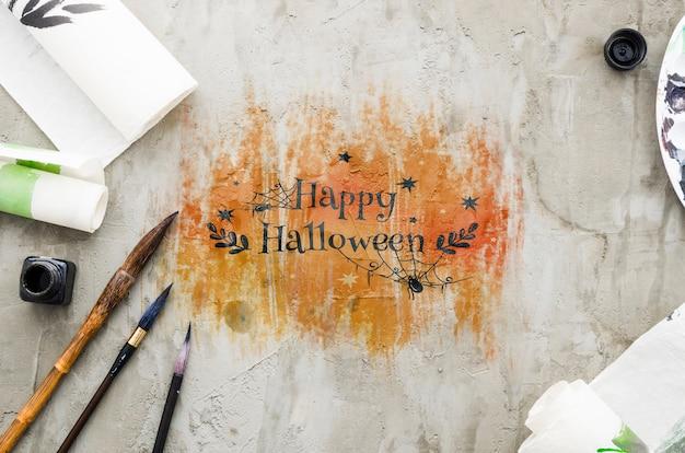 Happy halloween draw acrylic concept Free Psd