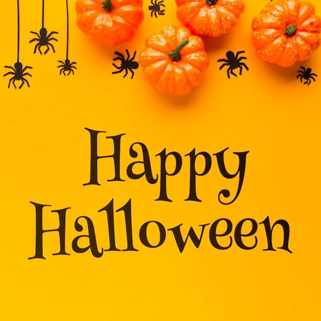 Happy halloween message on celebration day Free Psd