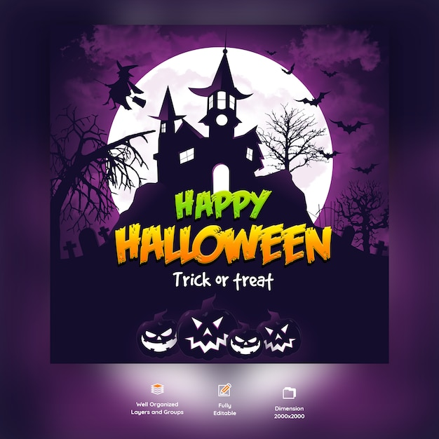 Happy halloween psd background template Premium Psd