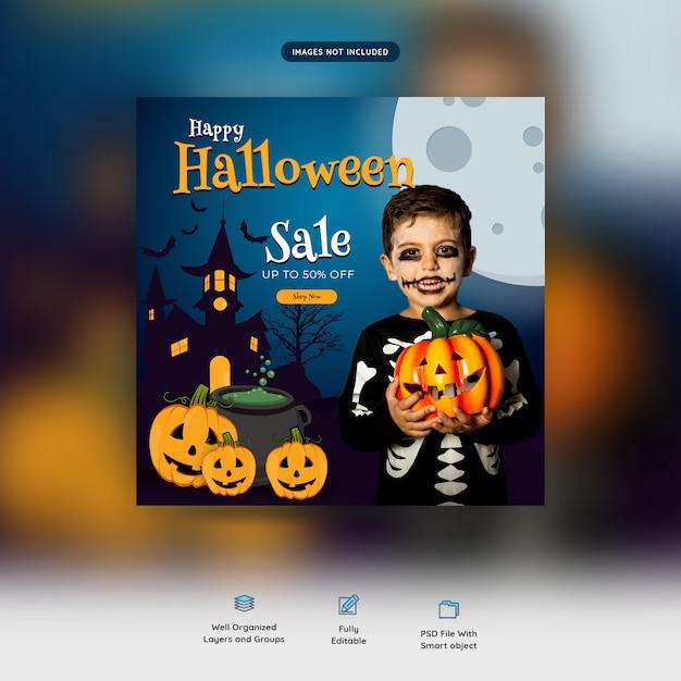 Happy halloween sale social media banner Premium Psd