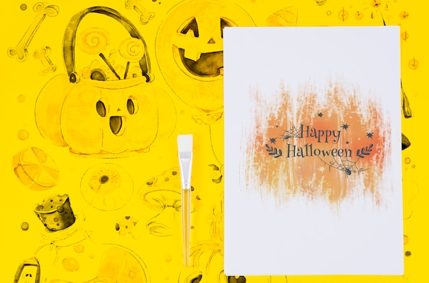 Happy halloween sheet draw and background concept Free Psd