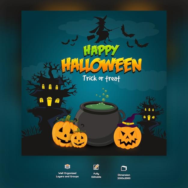 Happy halloween trick or treat background Premium Psd