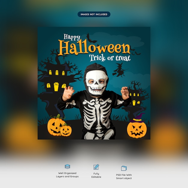 Happy halloween trick or treat social media banner Premium Psd