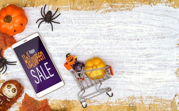 Happy halloween распродажа макет на смартфоне Premium Psd