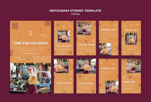 Happy holiday instagram stories template Free Psd