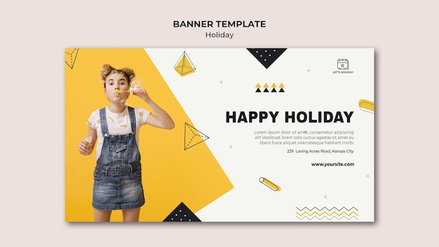 Happy holiday party banner template Free Psd