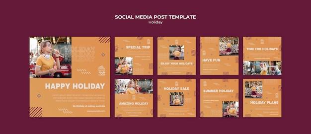 Modello di post sui social media di vacanza felice Psd Gratuite