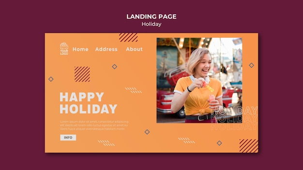 Happy holiday in a sunny day landing page Premium Psd
