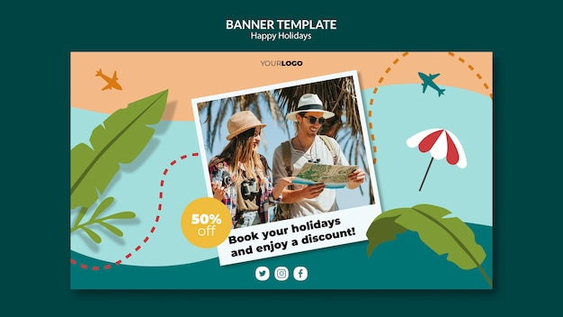 Happy holidays banner Free Psd