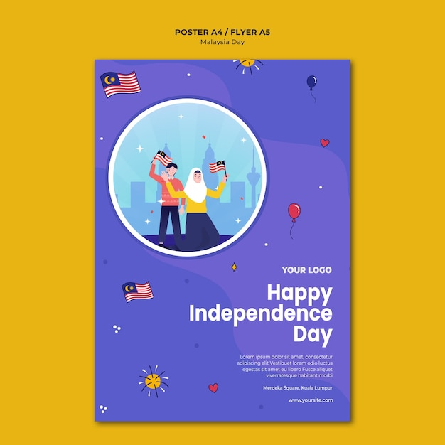 해피 말레이시아 독립 기념일 전단지 서식 파일 무료 PSD 파일