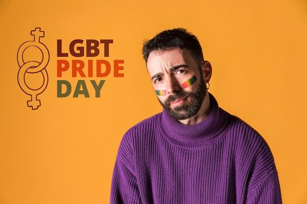 Happy man on lgbt gay pride day. love wins Free Psd