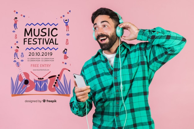 Happy man listening music with poster template Free Psd