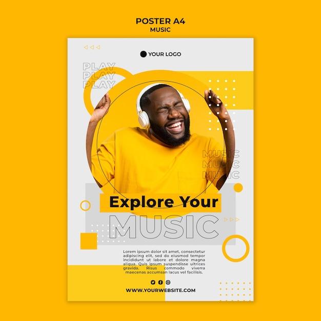 음악 포스터 템플릿을 듣고 행복 한 사람 무료 PSD 파일