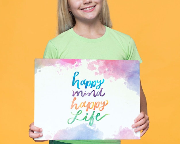 Happy mind happy life cute young girl Free Psd